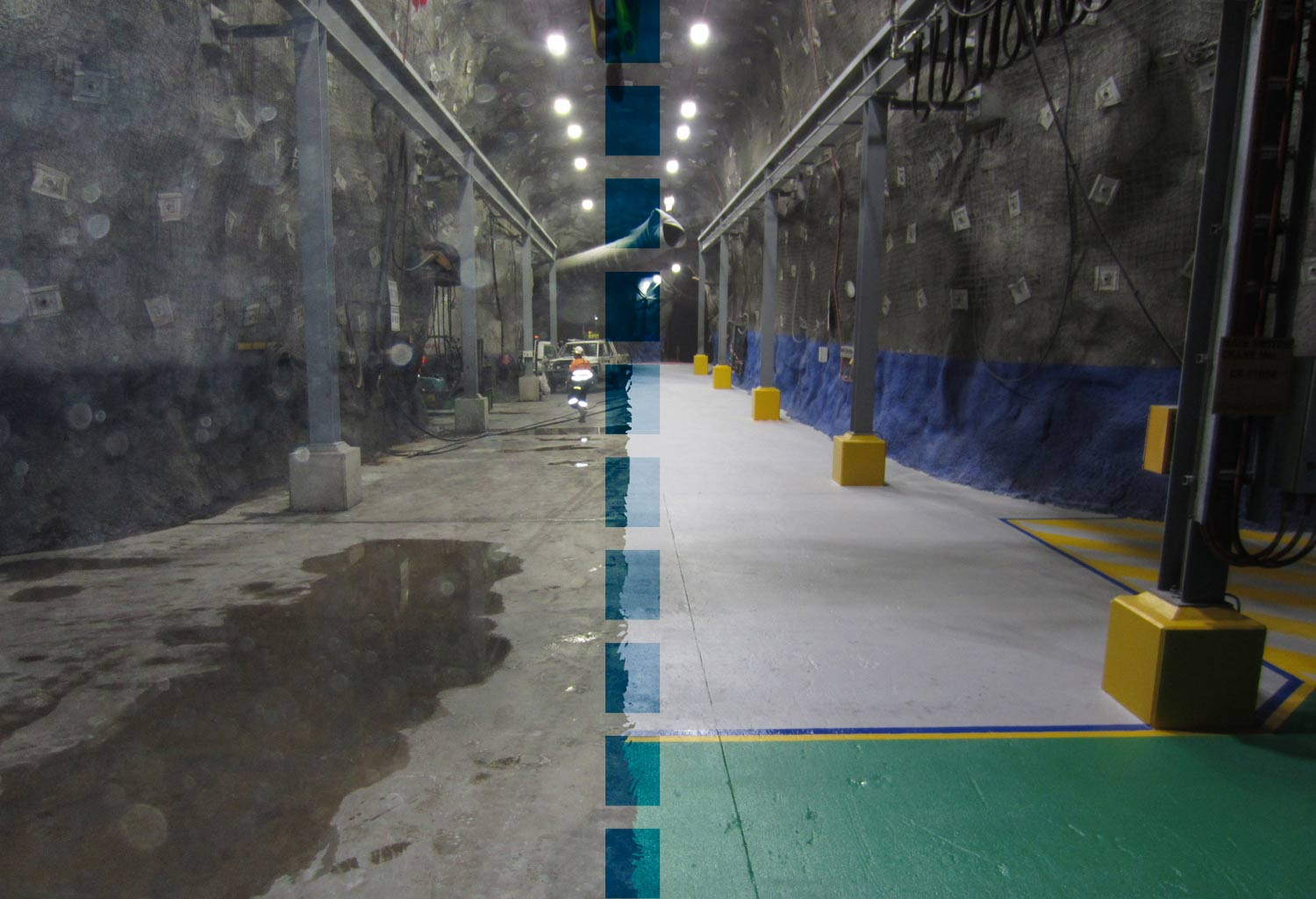 Floor coating and demarcation in mine