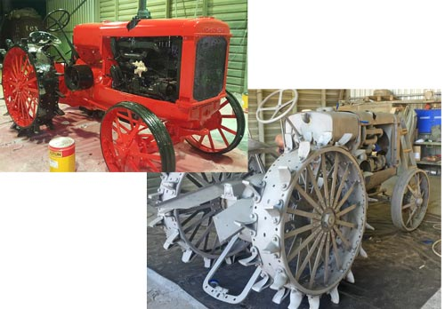 sandblasted and restored tractor